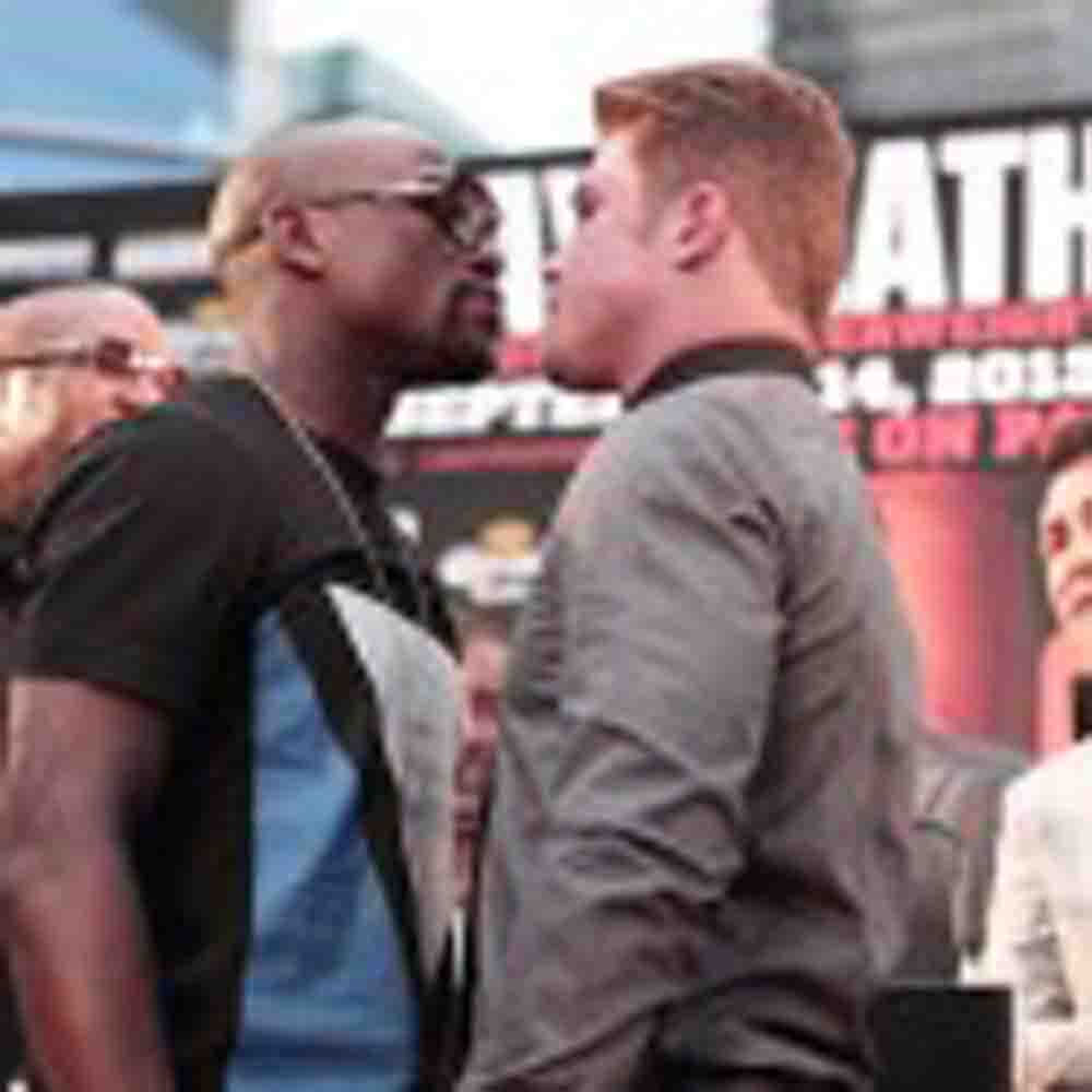 MAYWEATHER VS CANELO KICK OFF THEY'RE 11 CITY PRESS TOUR IN NY CITY TIMES SQUARE