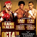 Frankie De Alba to take on Jesse Carradine on Saturday October 4 at the Valley Forge Casino Resort